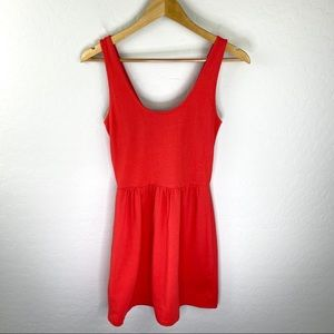 J. Crew skater tank dress coral red buttons sz xs